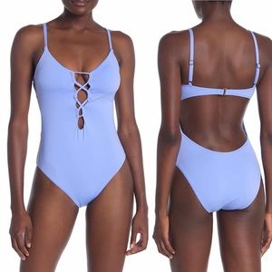 Lucky Brand Lace-Up Open Back One Piece Swimsuit